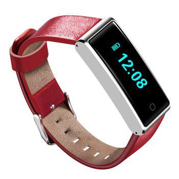 QS60 Heart Rate Measure Smart Wristband with Breath Training Pedometer -  RED