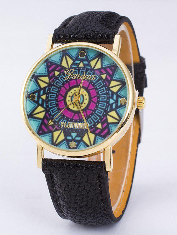 GENEVA Platinum Faux Leather Puzzle Print Quartz Watch