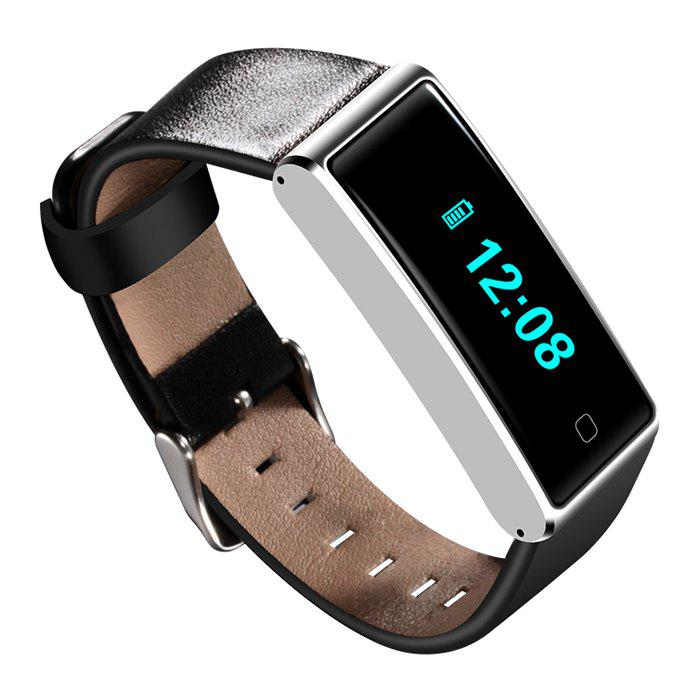QS60 Heart Rate Measure Smart Wristband with Breath Training Pedometer - BLACK