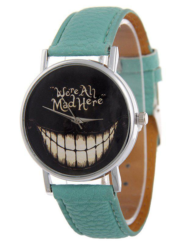 PU Leather Grinned Tooth Halloween Quartz Watch - MINT GREEN