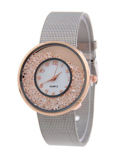 Natural Beads Circle Dial Plate Watch - ROSE GOLD