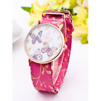 PU Leather Flower Butterfly Quartz Watch