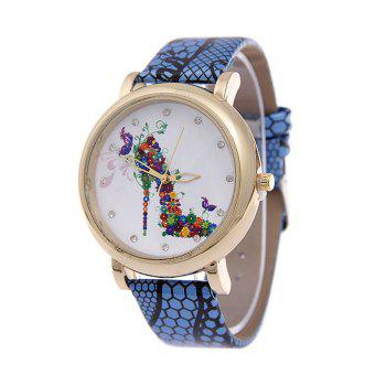 Rhinestone Flower High Heel Quartz Watch