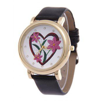 Rhinestone Heart Floral Quartz Watch