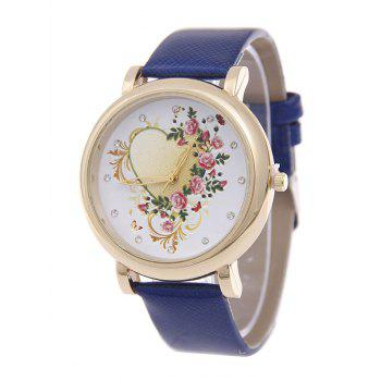 PU Leather Rhinestone Floral Heart Watch