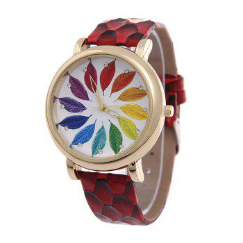 Rhinestone Multicolored Tree Leaf Quartz Watch