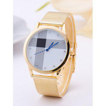 Geometric Stripe Rhinestone Circle Watch