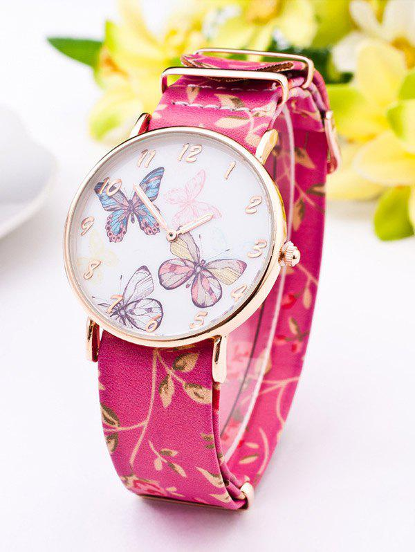 PU Leather Flower Butterfly Quartz WatchWatches<br><br><br>Color: ROSE RED