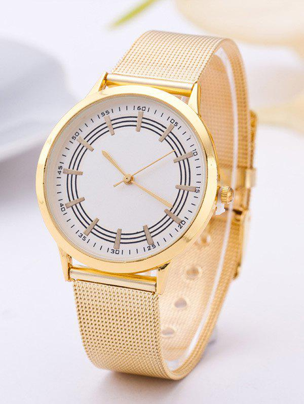 Steel Band Circle Dial Plate WatchWatches<br><br><br>Color: WHITE