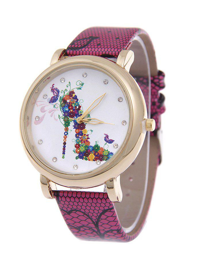 Rhinestone Flower High Heel Quartz Watch - ROSE RED
