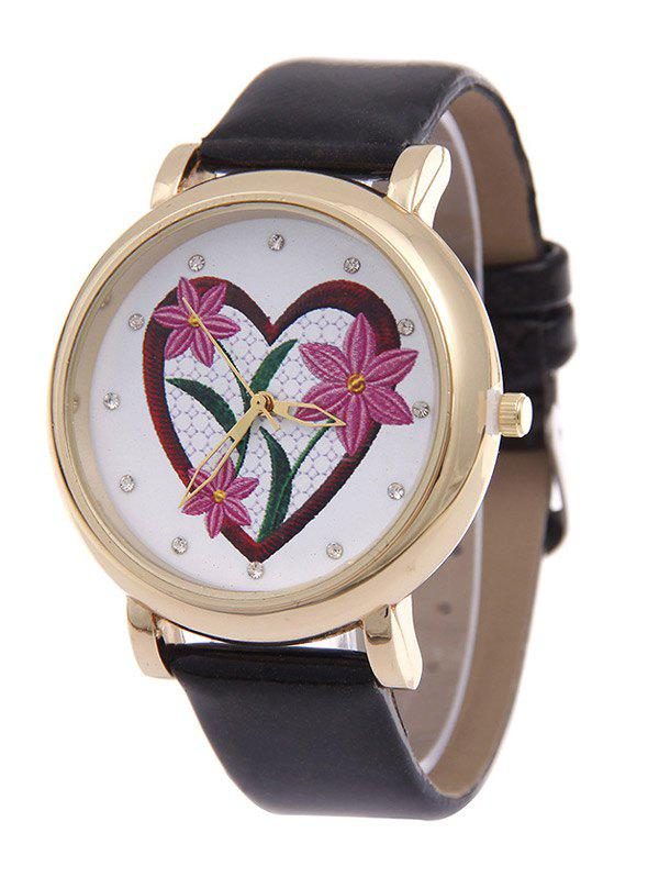 Rhinestone Heart Floral Quartz Watch, Black