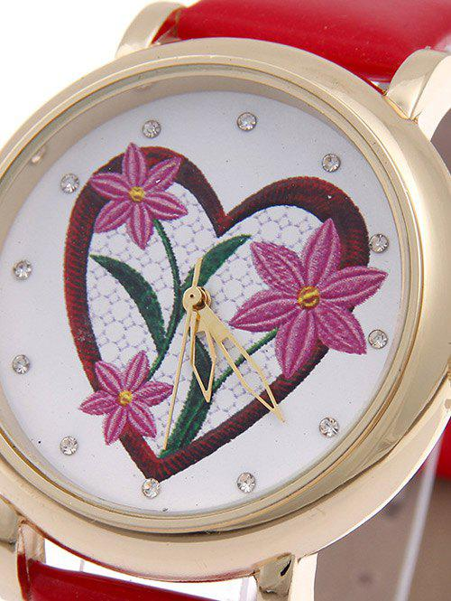 Rhinestone Heart Floral Quartz Watch - RED