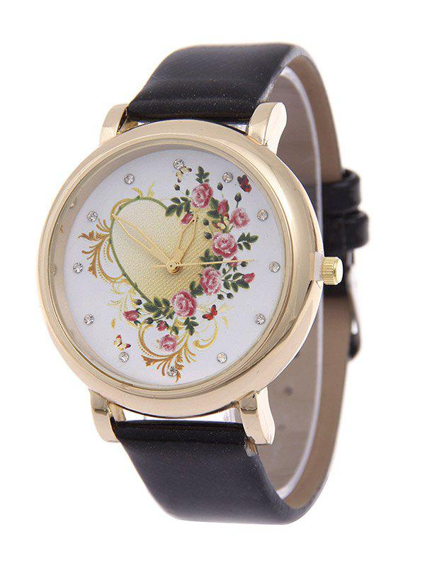 PU Leather Rhinestone Floral Heart Watch - BLACK