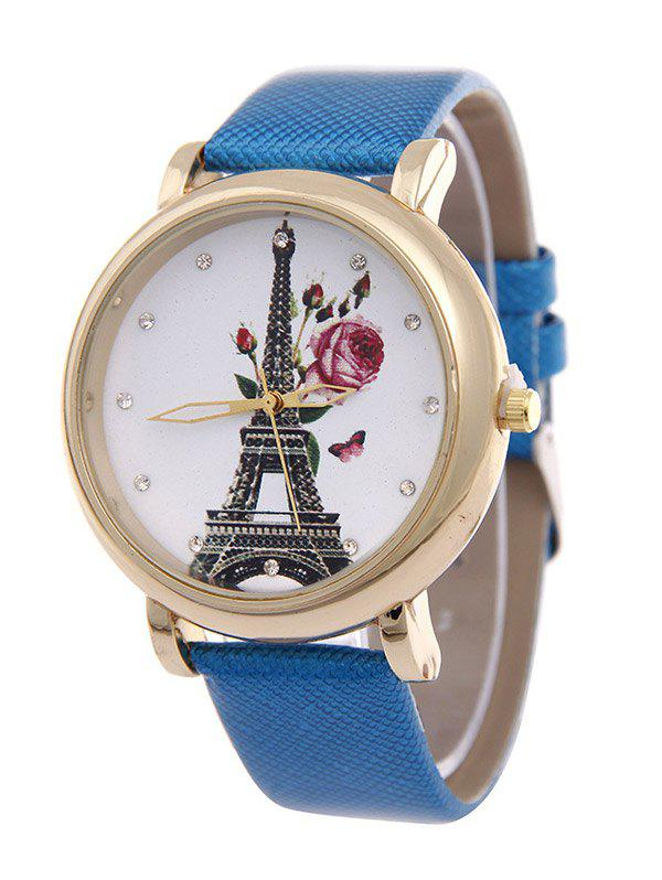 Eiffel Tower Butterfly Floral Rhinestone Watch - AZURE