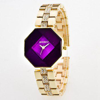 Geometric Rhinestone Quartz Analog Watch