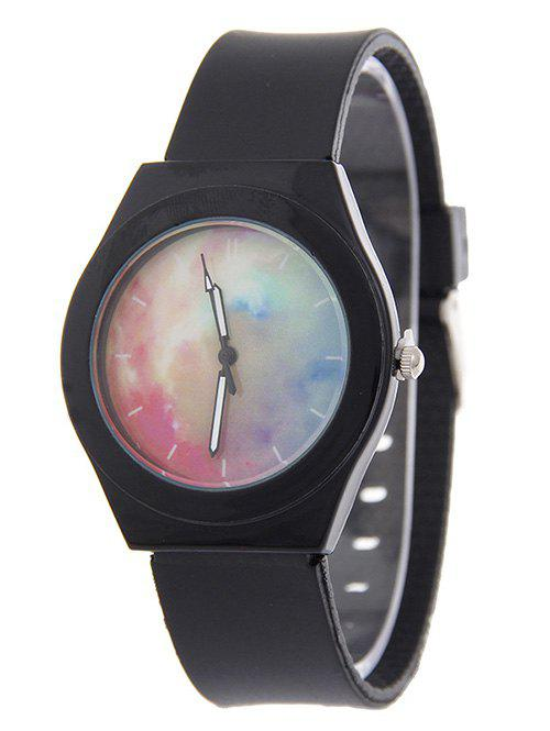 Starry Sky Pattern Silicone Quartz Watch - BLACK