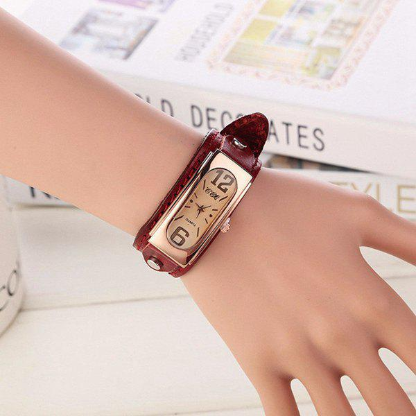 Artificial Leather Geometric Wrist Bracelet WatchWatches<br><br><br>Color: RED
