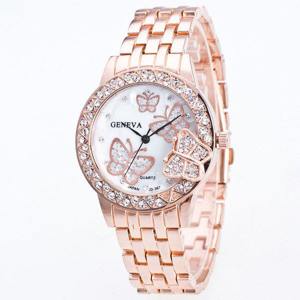 Butterfly Rhinestone Steel Band Quartz Watch, Rose gold