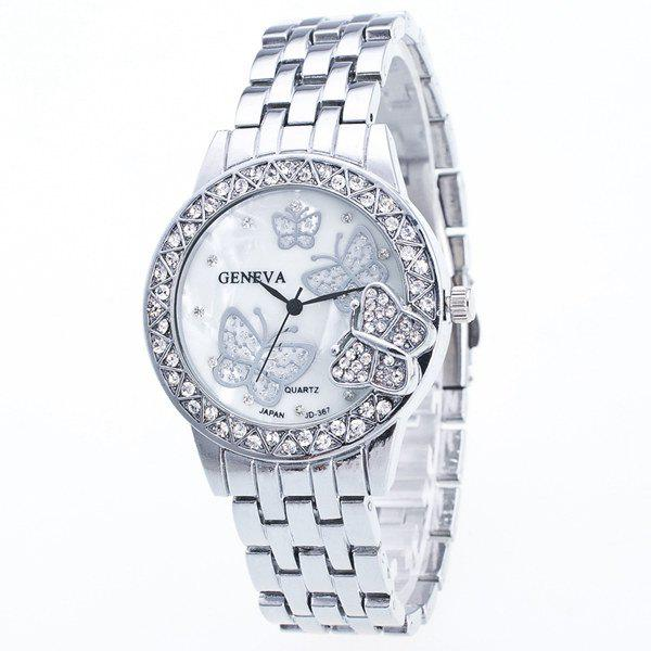 Butterfly Rhinestone Steel Band Quartz Watch, Silver