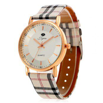 Jijia Golden Case Women Quartz Watch with Plaid Leather Strap - WHITE WHITE