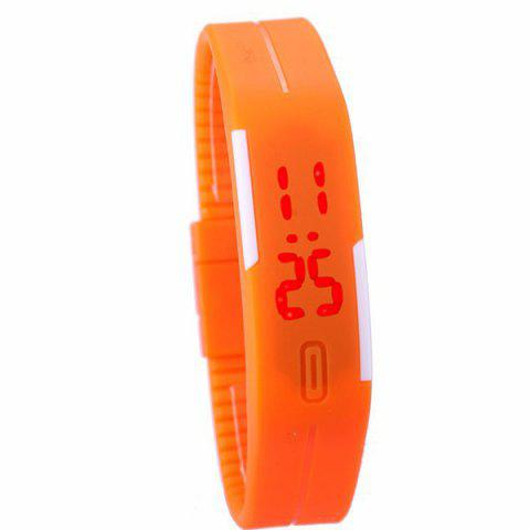 LED Digital Sportif Montre avec Bande de Silicone - Orange
