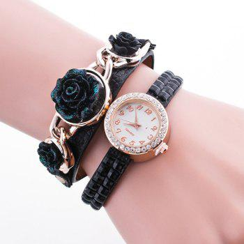Rhinestone Rose Floral Wristband Bracelet Watch