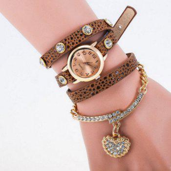 Heart Rhinestone Quartz Bracelet Wristband Watch