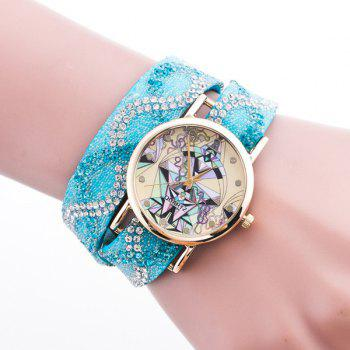 Rhinestone Quartz Bracelet Wristband Geometric Watch