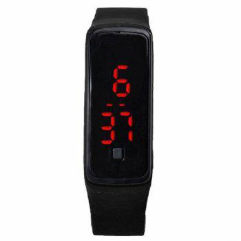 Silicone Digital Sport LED Wristband Watch - BLACK