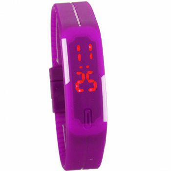 LED Digital Sport Wristband Silicone Watch - PURPLE PURPLE