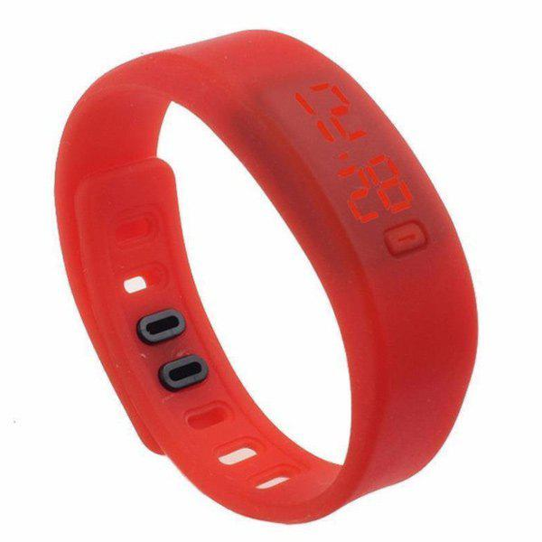 LED Silicone Sport Digital Wristband Watch - RED
