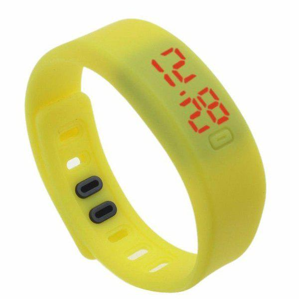 LED Silicone Sport Digital Wristband Watch - YELLOW