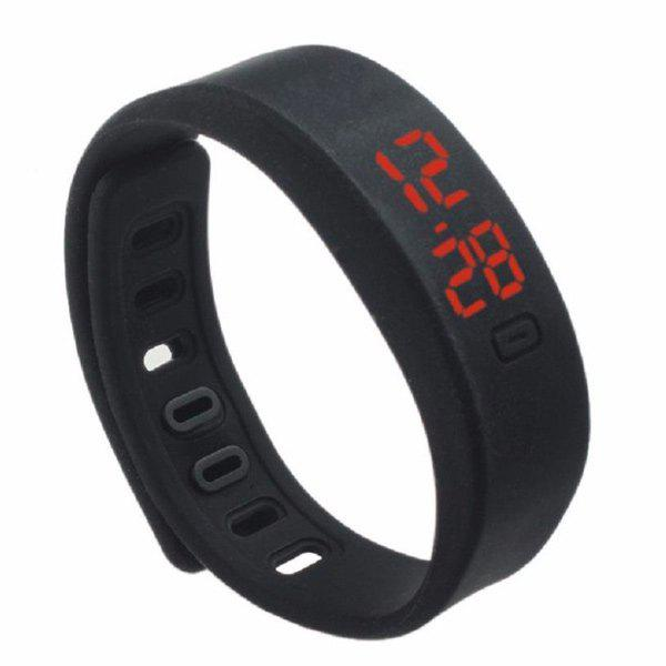 LED Silicone Sport Digital Wristband Watch - BLACK