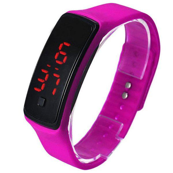 Silicone Digital Sport LED Wristband Watch - ROSE RED