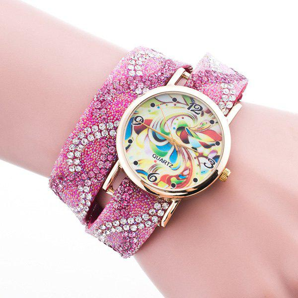 Rhinestone PU Leather Feather Bracelet Watch - PINK