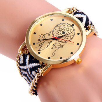 Woven Woolen Ladies Quartz Wrist Watch Wind Wheel Pattern Pull Cord Bracelet