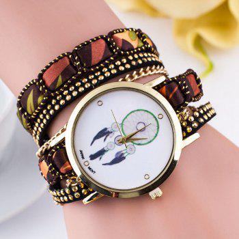 Faux Leather Feather Wrap Bracelet Watch