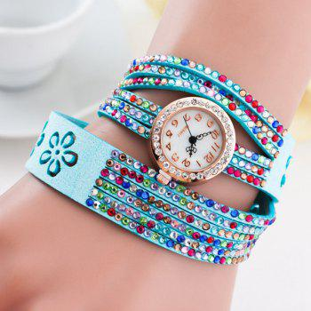 Faux Leather Rhinestoned Flower Bracelet Watch