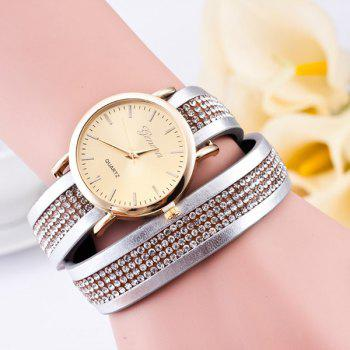 Rhinestone Artificial Leather Wrap Bracelet Watch