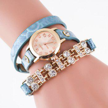 Rhinestone PU Leather Adorn Wrap Bracelet Watch