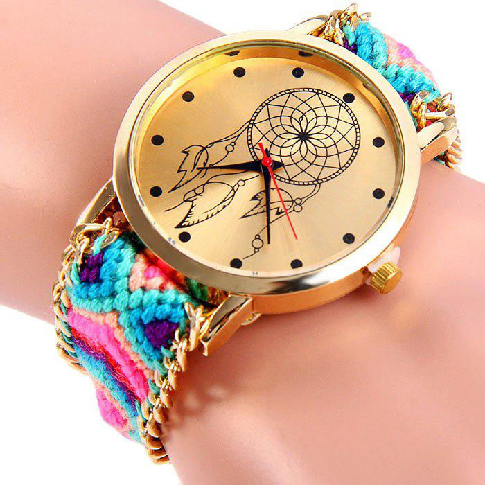 Woven Woolen Ladies Quartz Wrist Watch Wind Wheel Pattern Pull Cord Bracelet - BLUE/BLACK