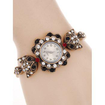 Vintage Alloy Rhinestone Fox Bracelet Watch