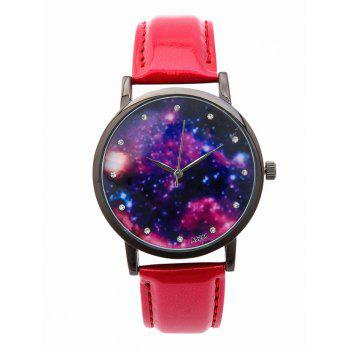 Rhinestone PU Leather Starry Sky Watch