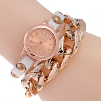 PU Leather Alloy Chain Bracelet Watch