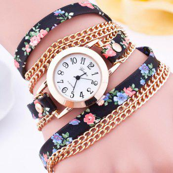 Flower Faux Leather Wrap Bracelet Watch