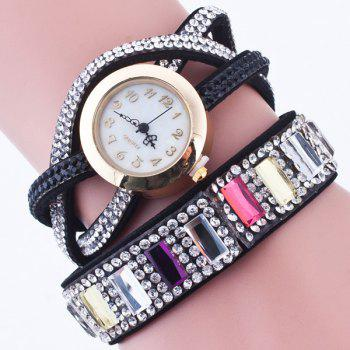 Geometric Faux Gem Wrap Bracelet Watch