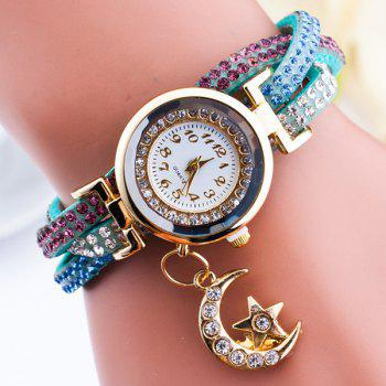Rhinestone Star Moon Wrap Bracelet Watch