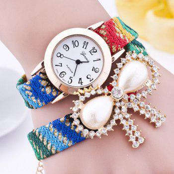 Rhinestone Artificial Pearl Bows Bracelet Watch