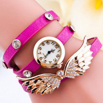 Angel Wings Rhinestone Wrap Bracelet Watch