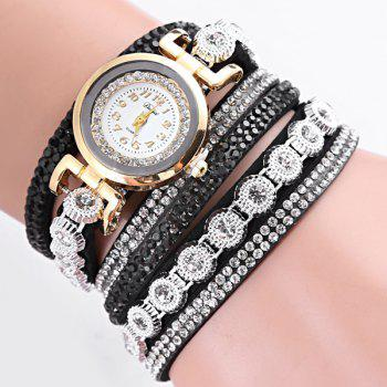 Rhinestoned Faux Leather Wrap Bracelet Watch